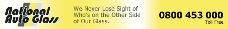 National Autoglass Banner: We Never Lose Sight of Who's on the Other Side of Our Glass. Call 0800 543 000 Toll Free