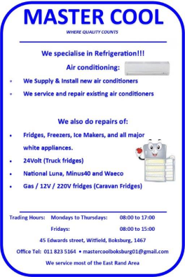 Master Cool Appliances - Appliance Repairs and/or Parts Witfield